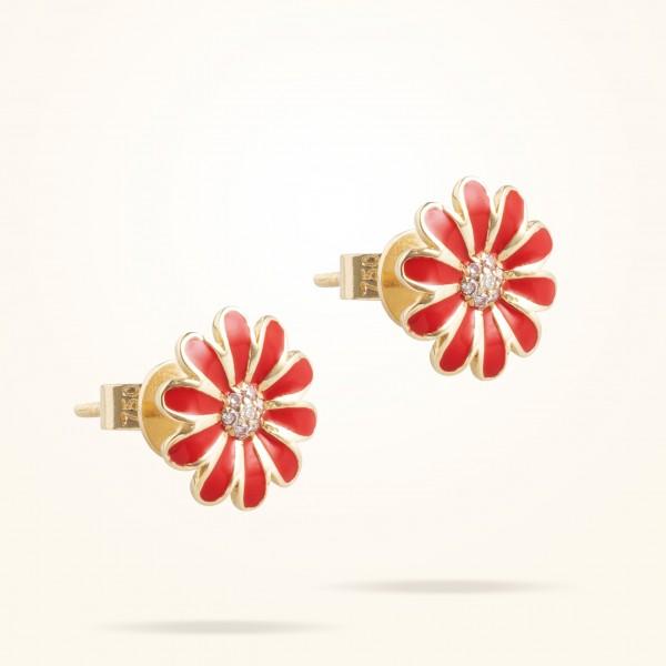 MARVVA - 10.5 Daisy Junior Classic Earrings, Diamond, Yellow Gold 18K