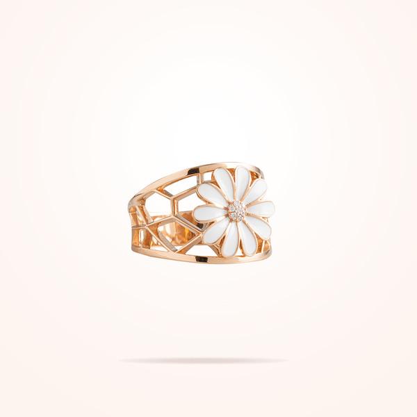 MARVVA - 10.5mm Daisy Elegance Ring,Diamond, Rose Gold 18K