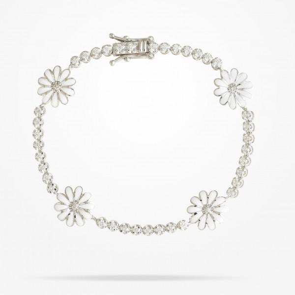 MARVVA - 10.5mm Daisy Elegance Bracelet, Diamond, White Gold 18K