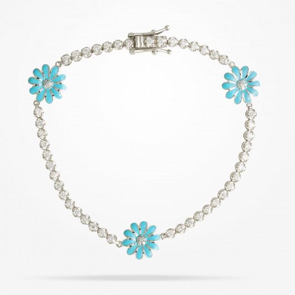 MARVVA - 10.5mm Daisy Elegance,Bracelet, Diamond, White Gold 18K