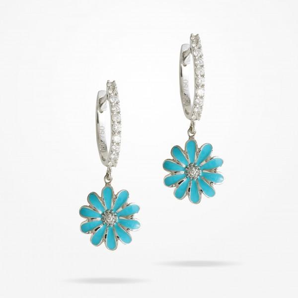 MARVVA - 10.5mm Daisy Elegance Earrings, Diamond, White Gold 18K