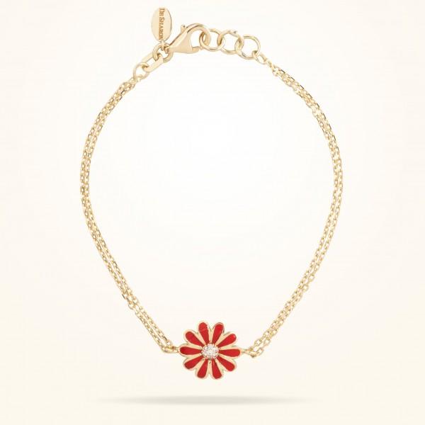 MARVVA - 10.5mm Daisy Junior Classic Bracelet , Diamond, Yellow Gold 18K