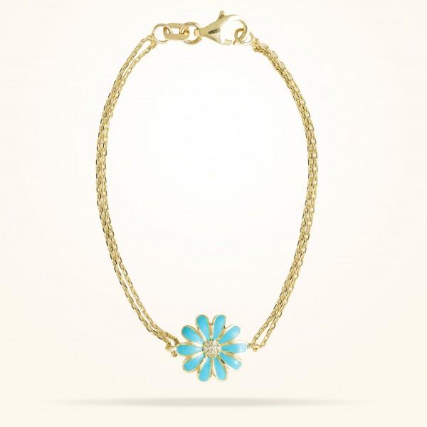 MARVVA - 10.5mm Daisy Junior Classic Bracelet, Diamond, Yellow Gold 18K