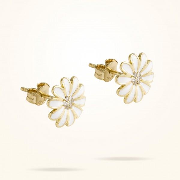 MARVVA - 10.5mm Daisy Junior Classic Earrings,Diamond, Yellow Gold 18K
