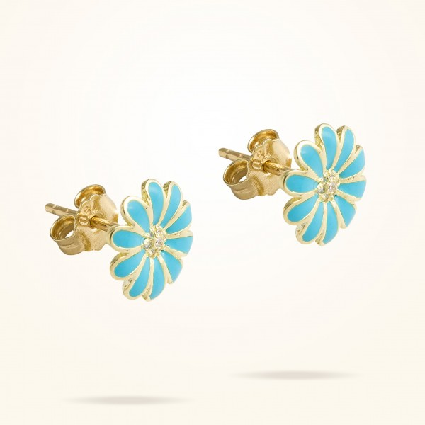 MARVVA - 10.5mm Daisy Junior Classic Earrings, Diamond, Yellow Gold 18K