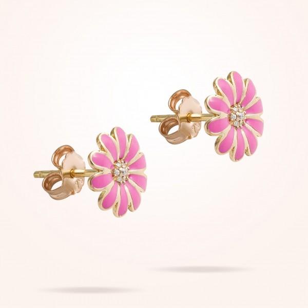 MARVVA - 10.5mm Daisy Junior Classic Earrings, Diamond, Rose Gold 18K