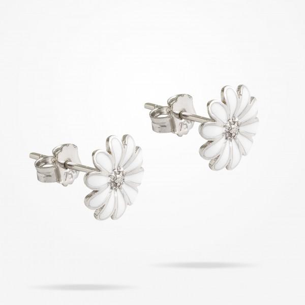 MARVVA - 10.5mm Daisy Junior Classic Earrings, Diamond, White Gold 18K