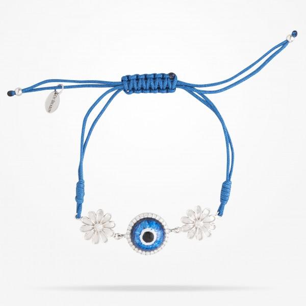 MARVVA - 10.5mm Daisy Junior Urban Bracelet,Blue Evil Eye,Diamond, White Gold 18K