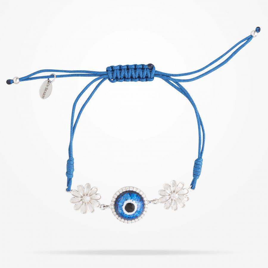 10.5mm Daisy Junior Urban Bracelet,Blue Evil Eye,Diamond, White Gold 18K