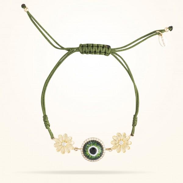 MARVVA - 10.5mm Daisy Junior Urban Bracelet,Green Evil Eye,Diamond, Yellow Gold 18K