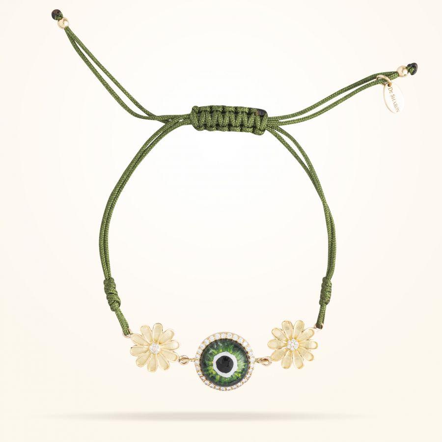 10.5mm Daisy Junior Urban Bracelet,Green Evil Eye,Diamond, Yellow Gold 18K