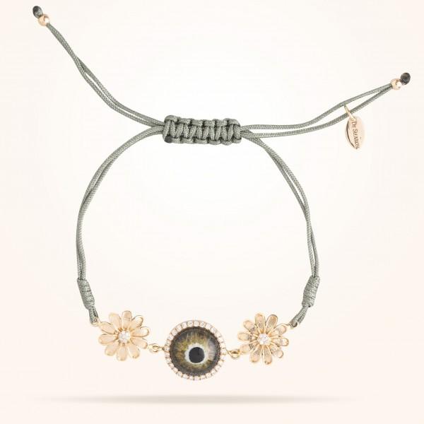 MARVVA - 10.5mm Daisy Junior Urban,Hazel Evil Eye Bracelet,Diamond, Rose Gold 18K
