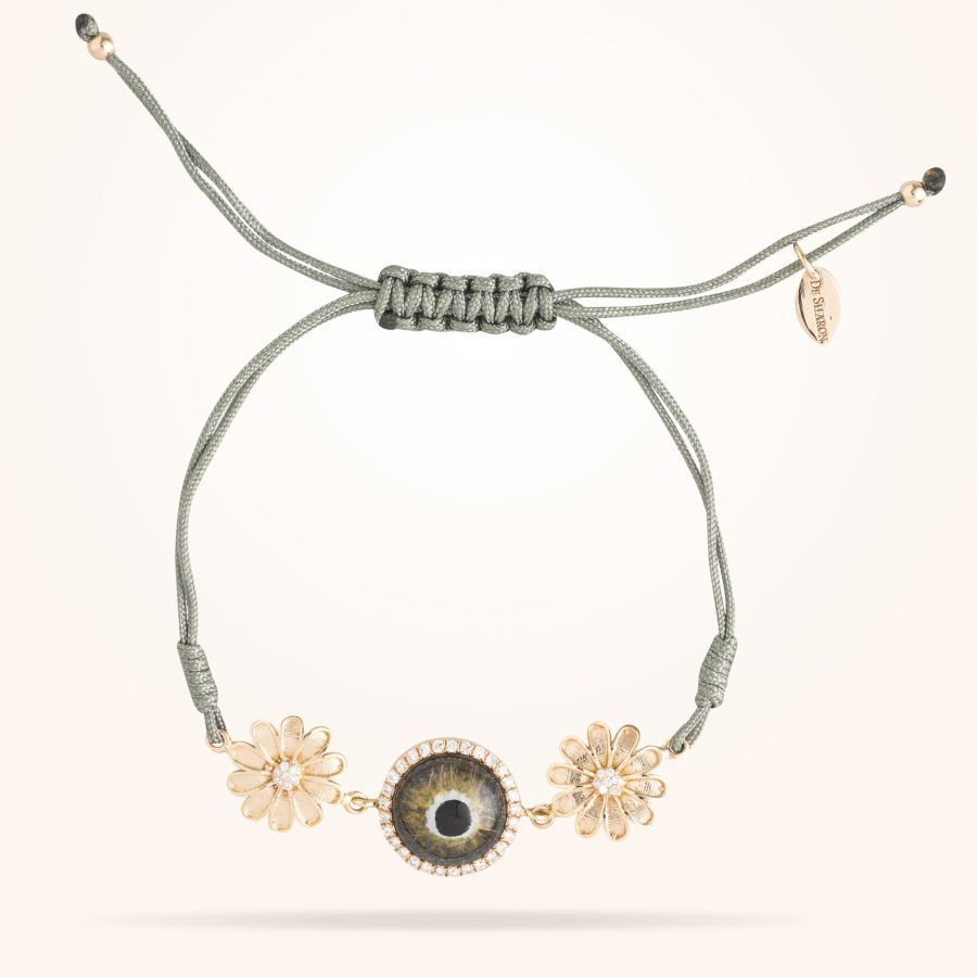 10.5mm Daisy Junior Urban,Hazel Evil Eye Bracelet,Diamond, Rose Gold 18K