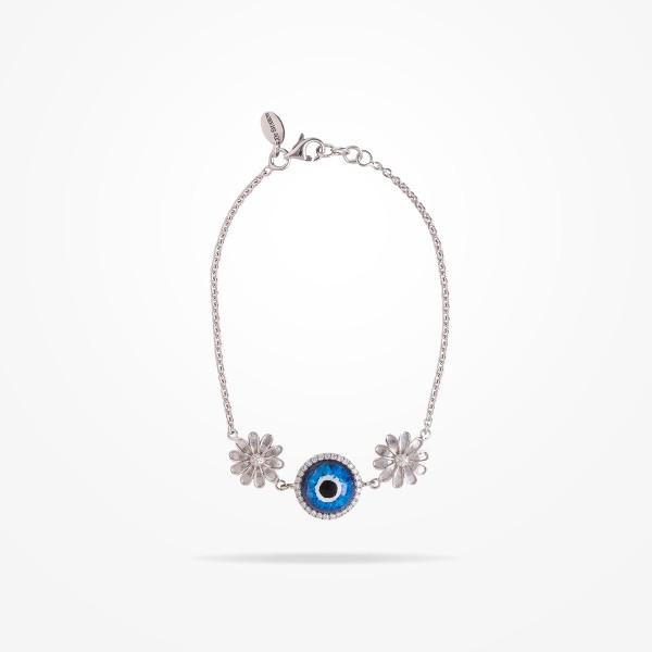 MARVVA - 10.5mm Daisy Urban Bracelet Blue Evil Eye, Diamond, White Gold 18K