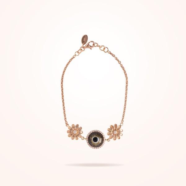 MARVVA - 10.5mm Daisy Urban Bracelet Hazel Evil Eye, Diamond, Rose Gold 18K
