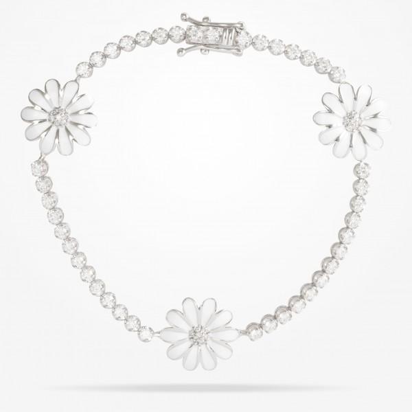 MARVVA - 13mm Daisy Elegance Bracelet, Diamond, White Gold 18K