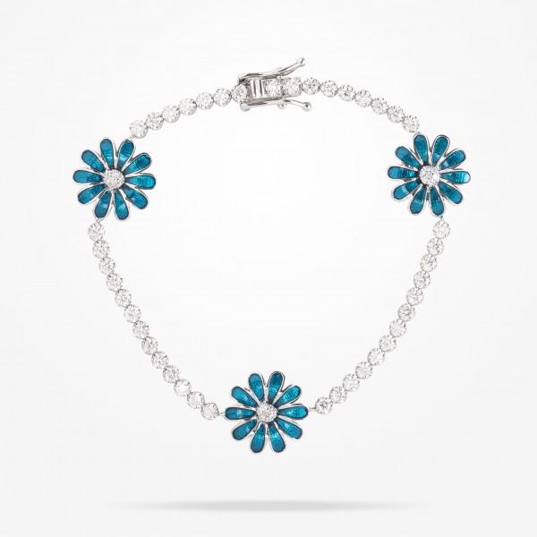 MARVVA - 13mm Daisy Elegance Bracelet, Diamond, White Gold