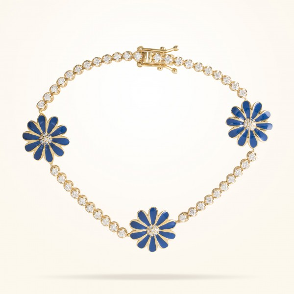 MARVVA - 13mm Daisy Elegance Bracelet, Diamond, Yellow Gold 18K