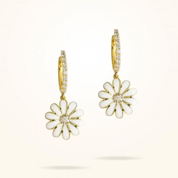 MARVVA - 13mm Daisy Elegance Earrings, Diamond, Yellow Gold 18K