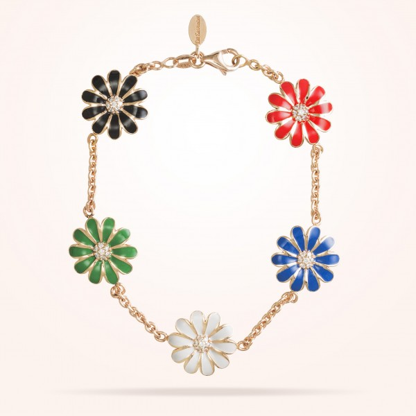 MARVVA - 13mm Daisy Les Jardins Bracelet , Diamond, Rose Gold18K