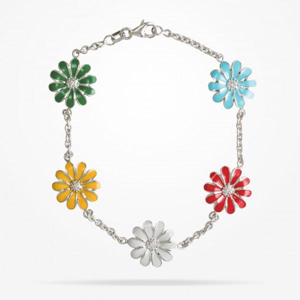 MARVVA - 13mm Daisy Les Jardins Bracelet , Diamond, White Gold18K