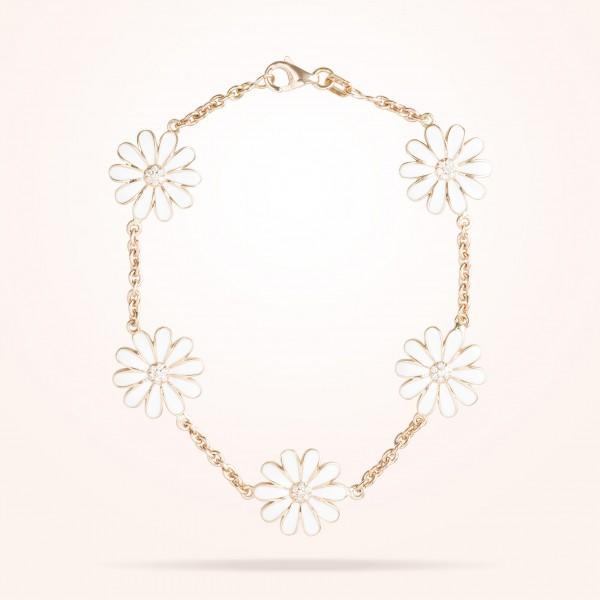 MARVVA - 13mm Daisy Les Jardins Double Sided Bracelet , Diamond, Rose Gold 18K
