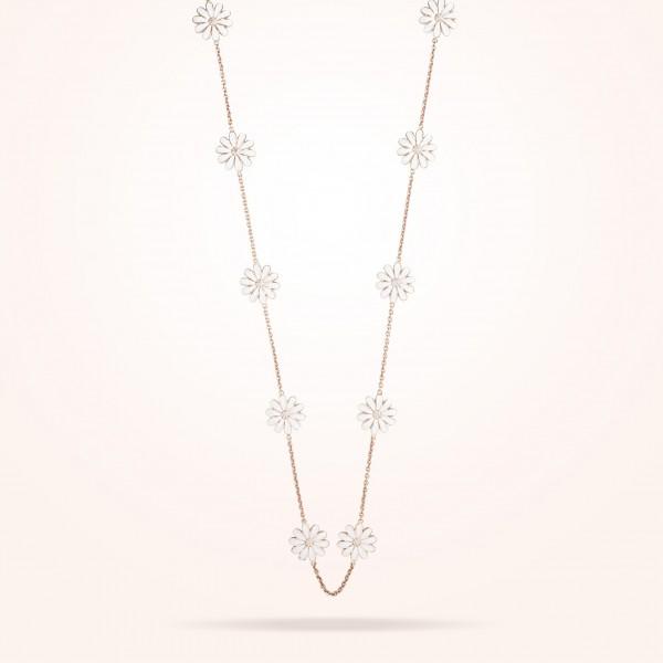 MARVVA - 13mm Daisy Les Jardins Double Sided Necklace, Diamond, Rose Gold 18K