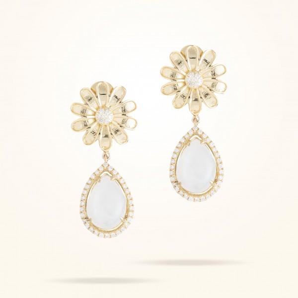 MARVVA - 13mm Daisy Sofia Moonstone Earrings, Diamond, Yellow Gold 18K