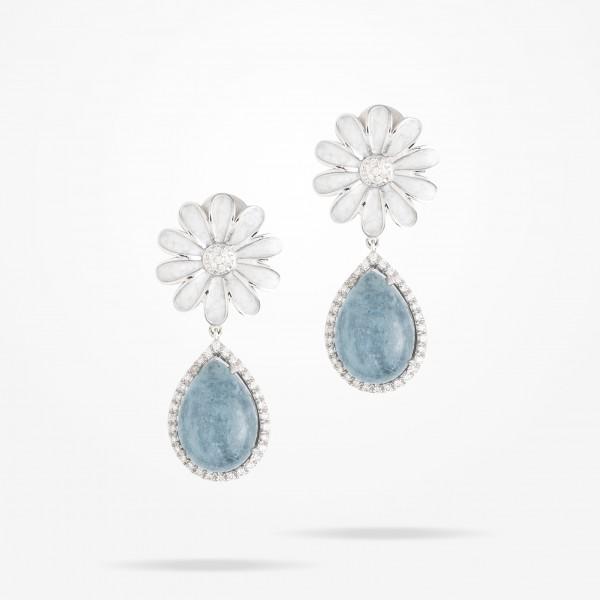 MARVVA - 13mm Daisy Sofia Topaz Earrings, Diamond, White Gold 18K