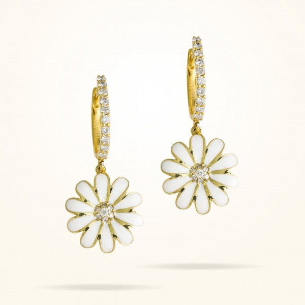 MARVVA - 16mm Daisy Elegance Earrings, Diamond, Yellow Gold 18K