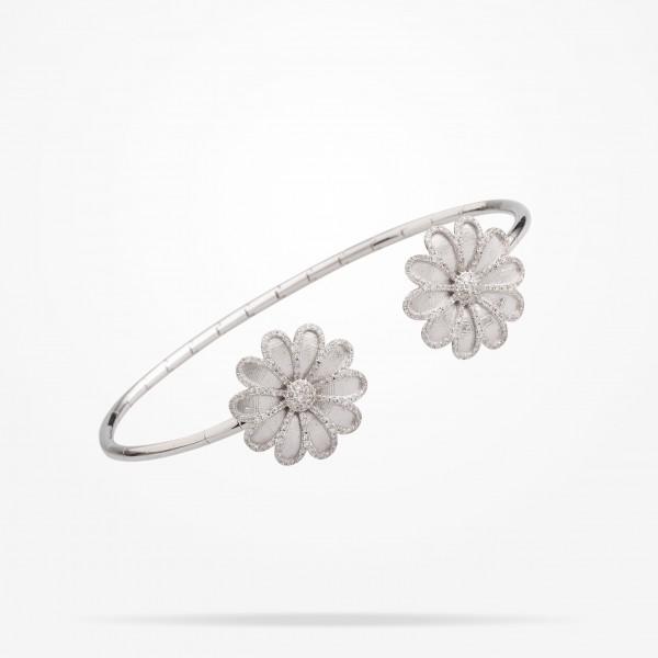 MARVVA - 17.15 Daisy Elegance Bangle, Diamond, White Gold 18K