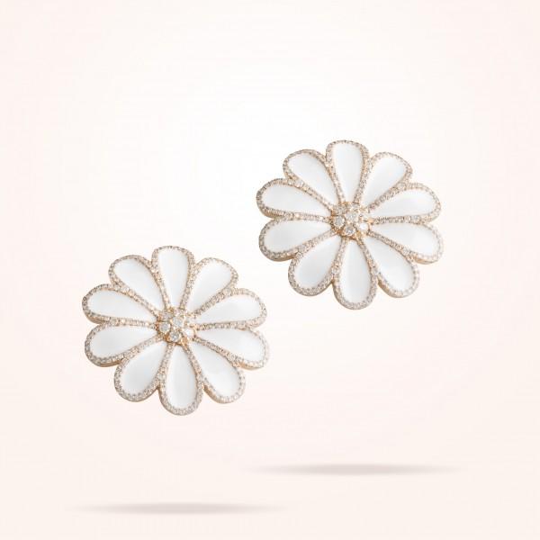 MARVVA - 17.15mm Daisy Elegance Earrings, Diamond, Rose Gold 18K
