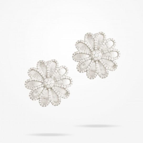 MARVVA - 17.15mm Daisy Elegance Earrings, Diamond, White Gold 18K