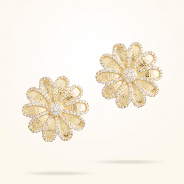 MARVVA - 17.15mm Daisy Elegance Earrings, Diamond, Yellow Gold 18K