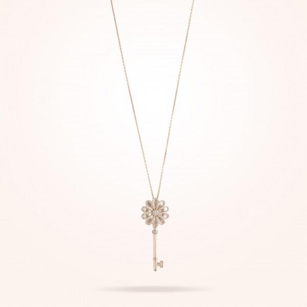 MARVVA - 17.15mm Daisy Elegance Pendent, Diamond, Rose Gold 18K