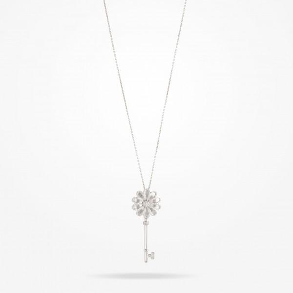 MARVVA - 17.15mm Daisy Elegance Pendent, Diamond, White Gold 18K