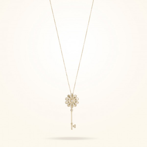 MARVVA - 17.15mm Daisy Elegance Pendent, Diamond, Yellow Gold 18K