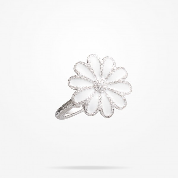 MARVVA - 17.15mm Daisy Elegance Ring, Diamond, White Gold 18K