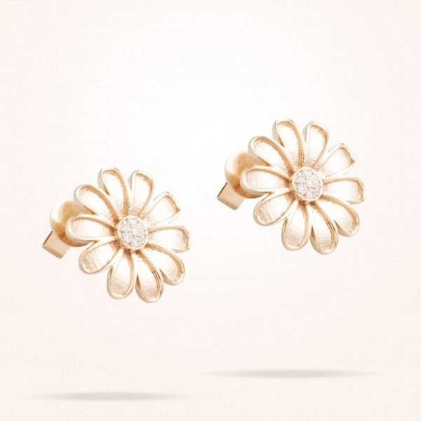 MARVVA - 16mm Daisy Classic Earrings, Diamond, Rose Gold 18K