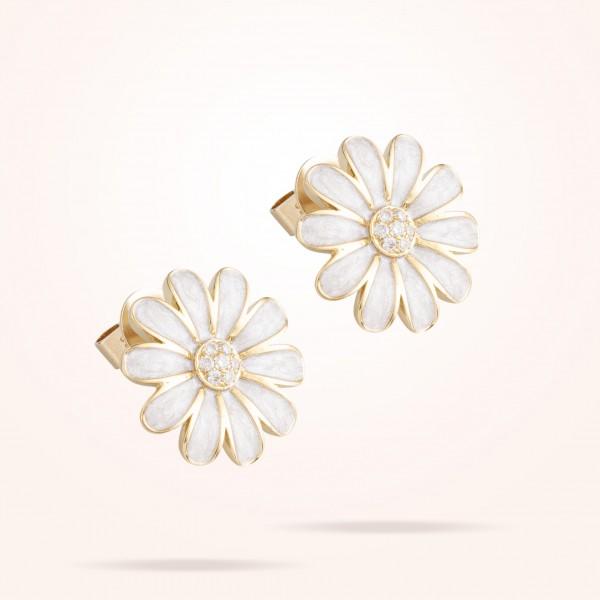 MARVVA - 16mm Daisy Classic Earrings, Diamond, Yellow Gold 18K
