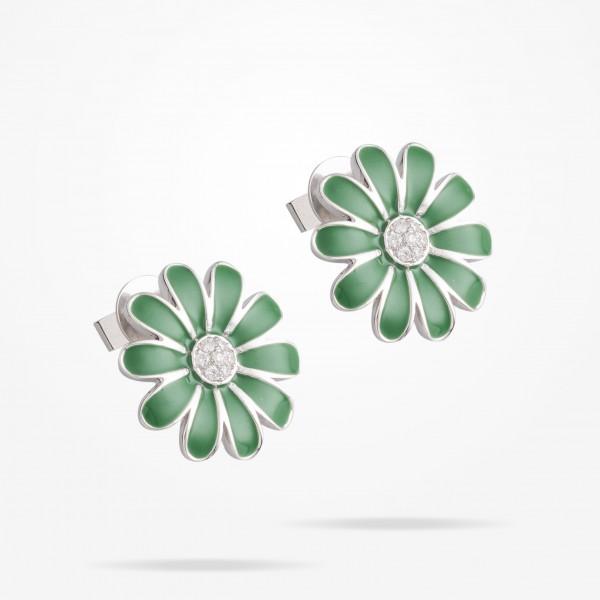 MARVVA - 16mm Daisy Classic Earrings, Diamond, White Gold 18K