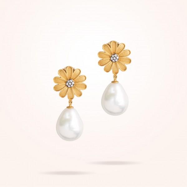 MARVVA - 16mm Daisy Sultana Earrings Pearl, Diamond, Antique Yellow Gold 18K
