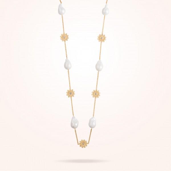 MARVVA - 16mm Daisy Sultana Long Necklace, Pearl, Diamond, Antique Yellow Gold 18K