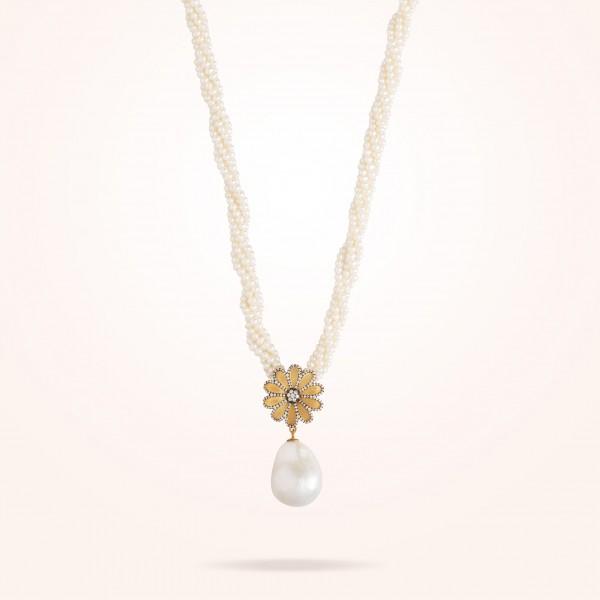 MARVVA - 17.15mm Daisy Sultana Pearl Necklace, Pearl, Diamond, Antique Yellow Gold 18K