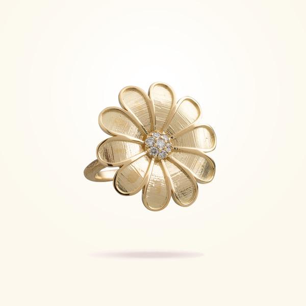 MARVVA - 27mm Daisy Classic Ring, Diamond, Yellow Gold 18K