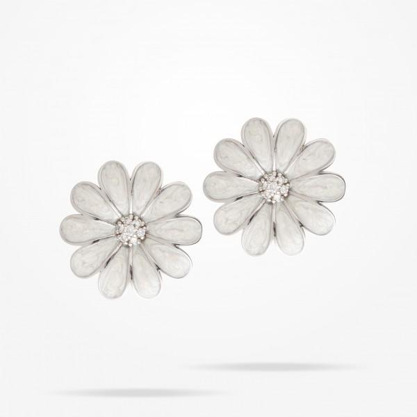 MARVVA - 27mm Daisy Classic Earrings, Diamond, White Gold 18K