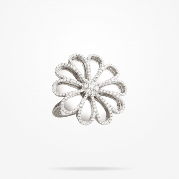 MARVVA - 28.5 Daisy Reflection Ring, Diamond, White Gold 18K