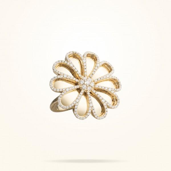 MARVVA - 28.5 Daisy Reflection Ring, Diamond, Yellow Gold 18K