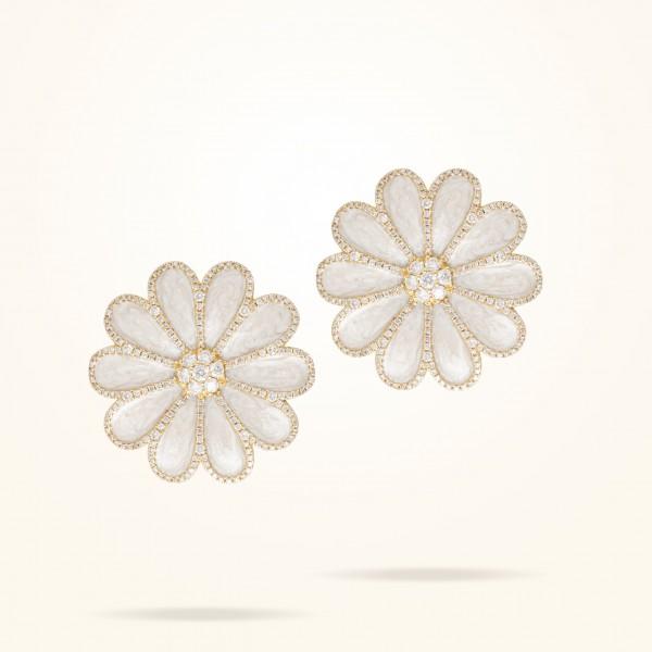 MARVVA - 28.5mm Daisy Elegance Earrings, Diamond, Yellow Gold