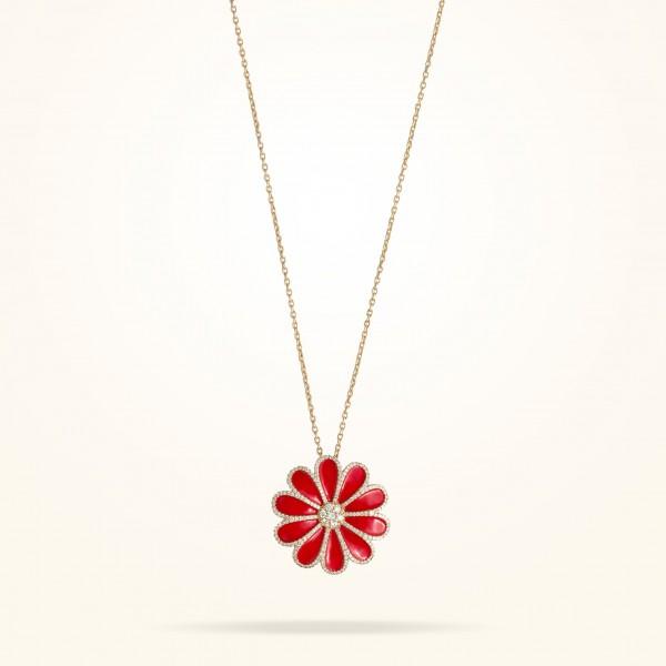 MARVVA - 28.5mm Daisy Elegance Pendent, Diamond, Rose Gold 18K